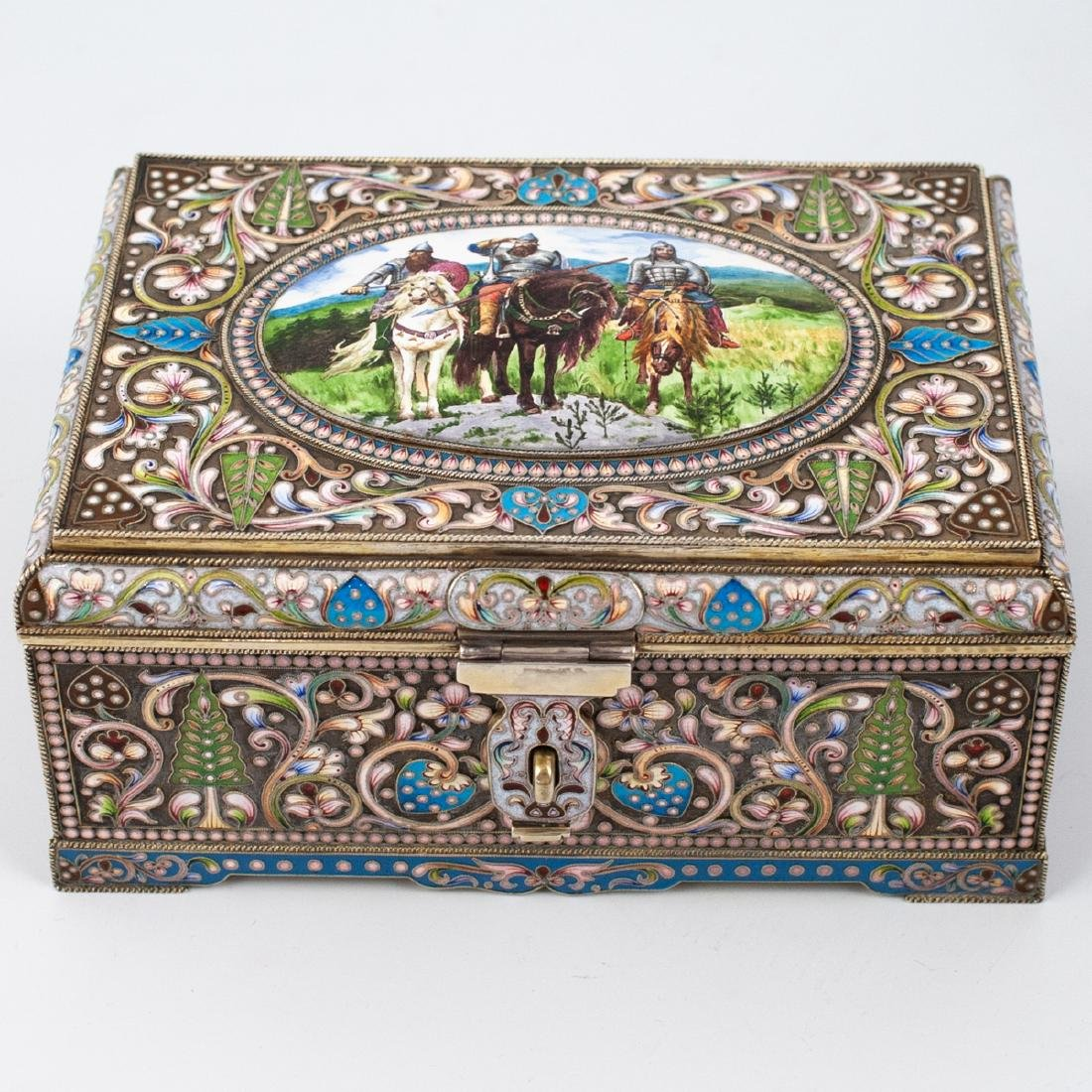 Faberge Russian Silver Enameled Box