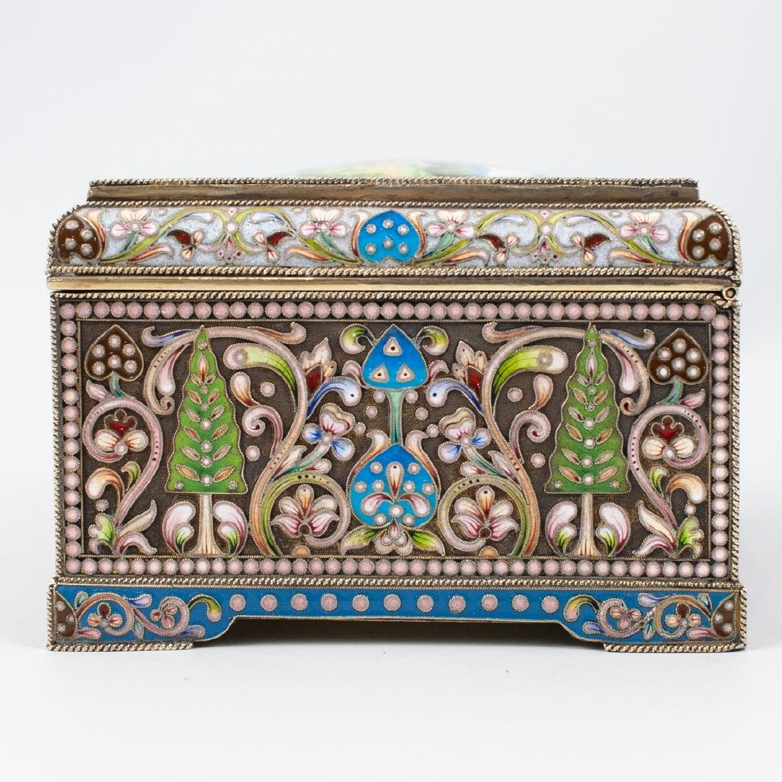 Faberge Russian Silver Enameled Box - 8