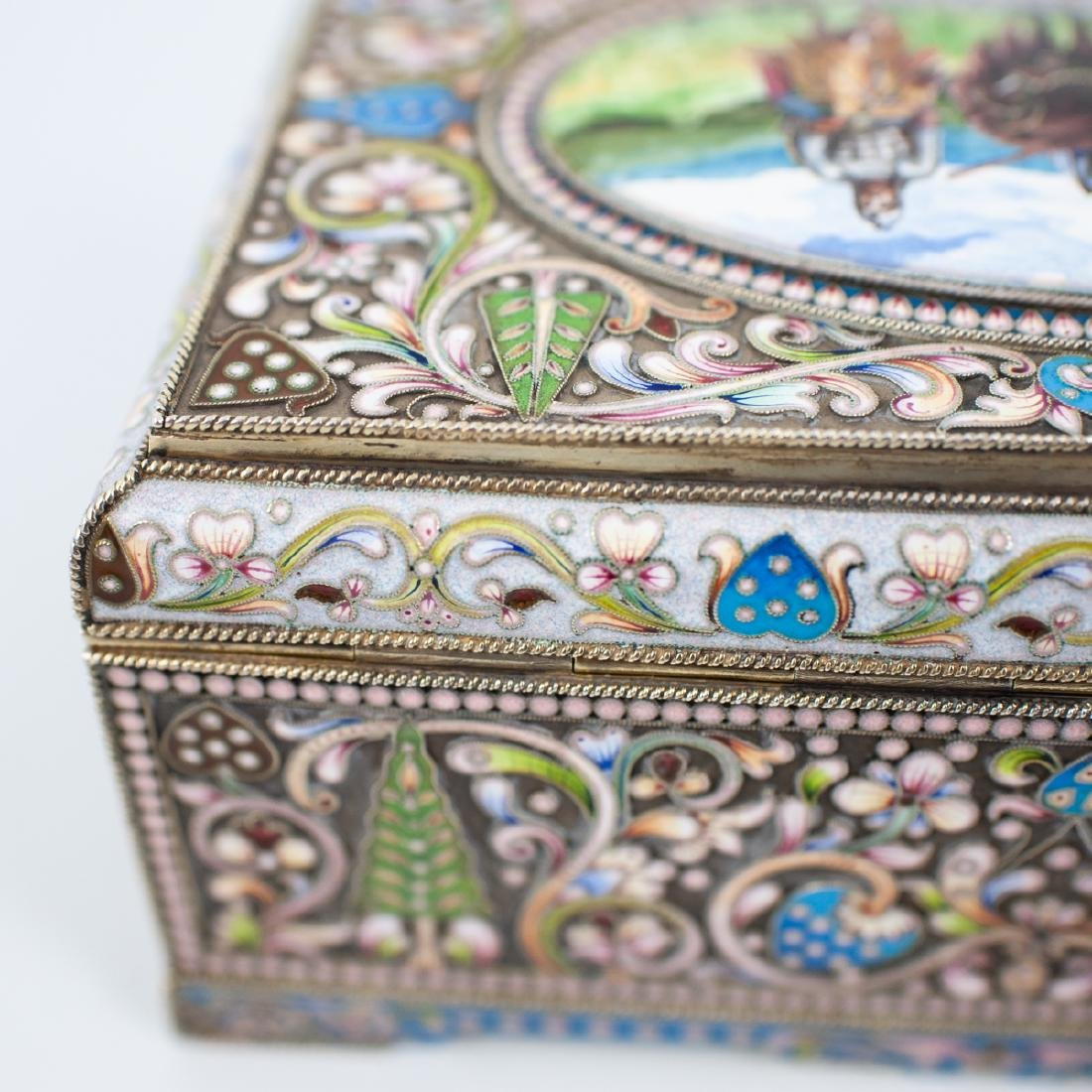 Faberge Russian Silver Enameled Box - 9