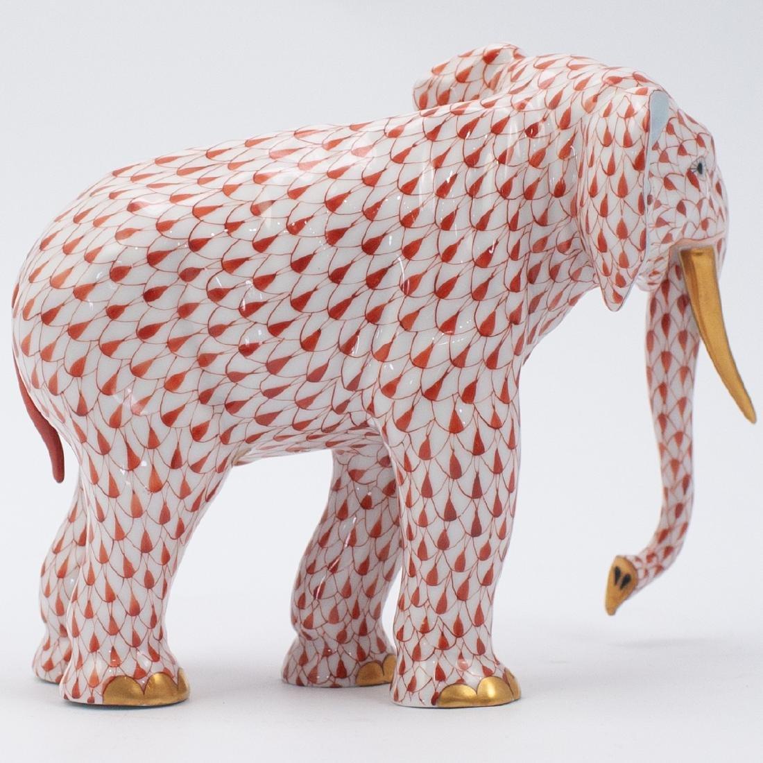 Herend Porcelain Fishnet Elephant - 2