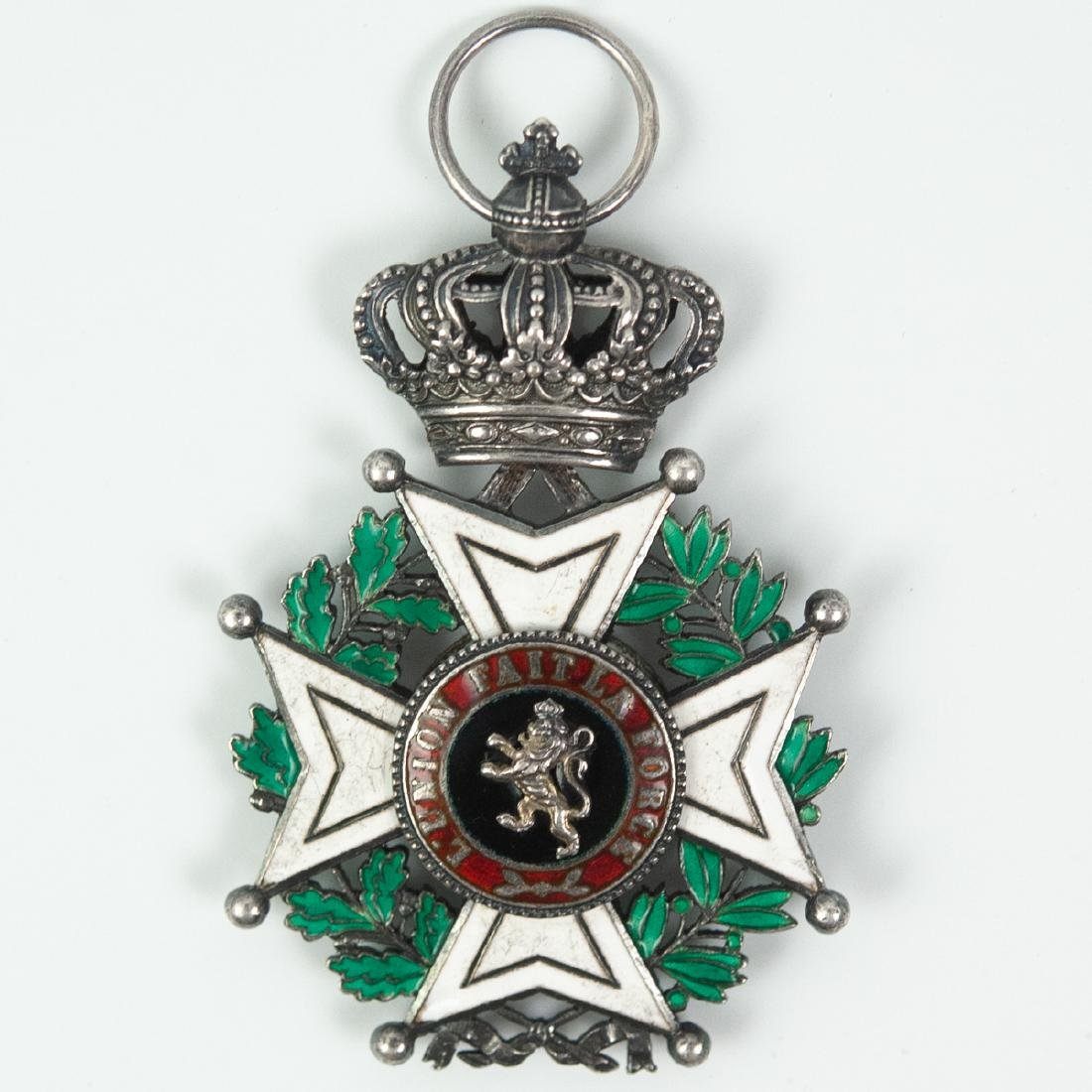 """Belgian """"L'Union Fait La Force"""" Enameled Medal"""