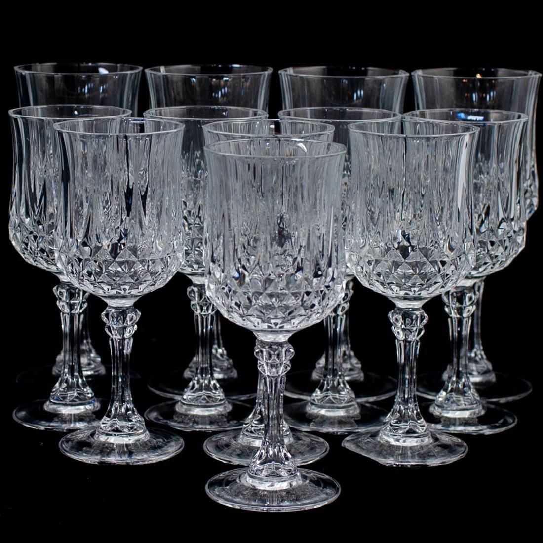 (12 Pc) Cut Crystal Wine Glasses