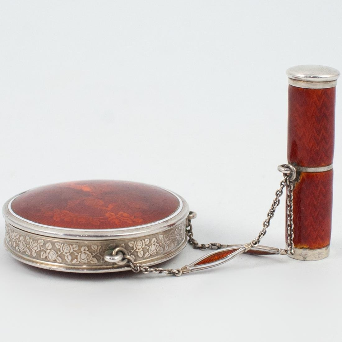 Sterling Silver and Enamel Guilloche Compact