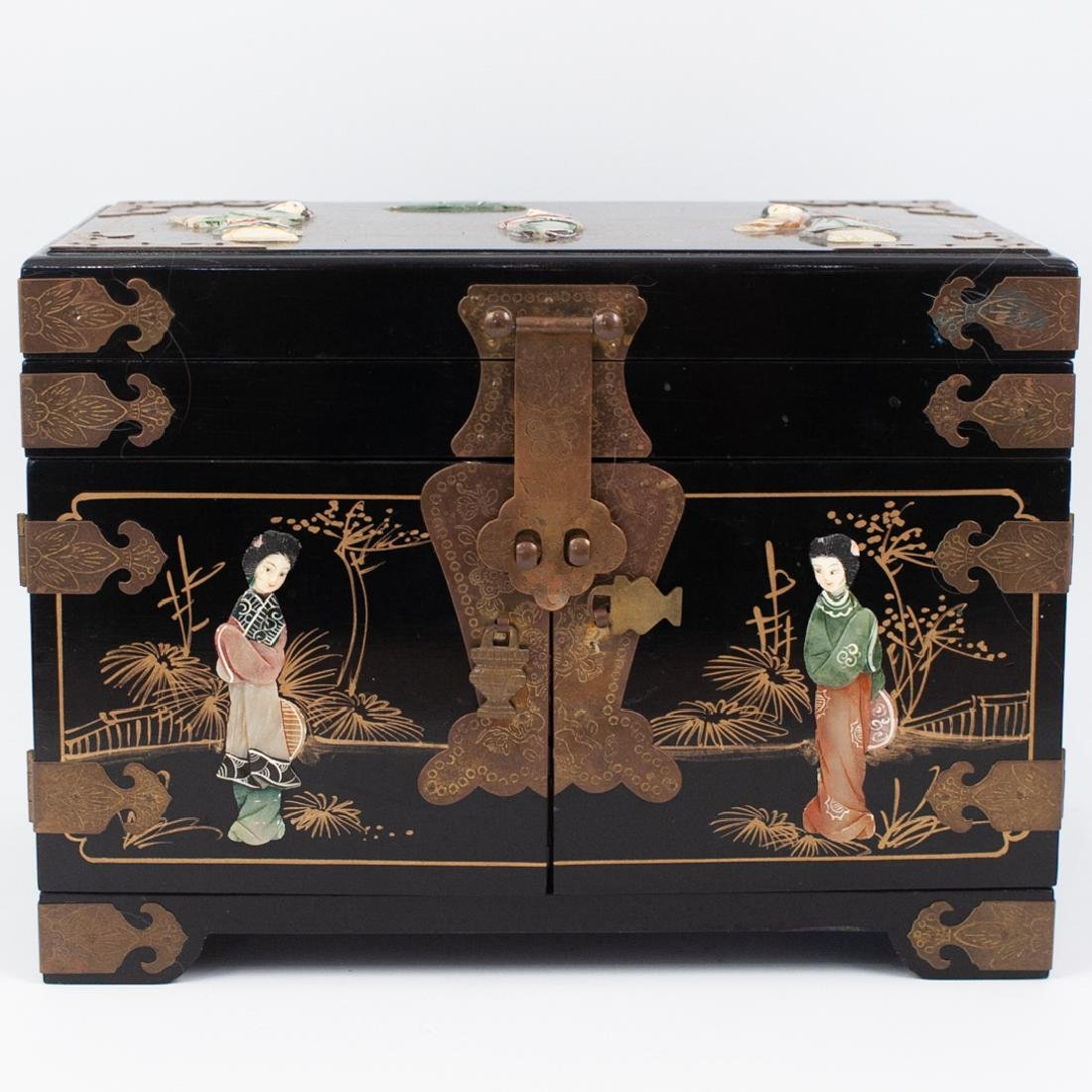 Antique Asian Lacquered Jewelry Box