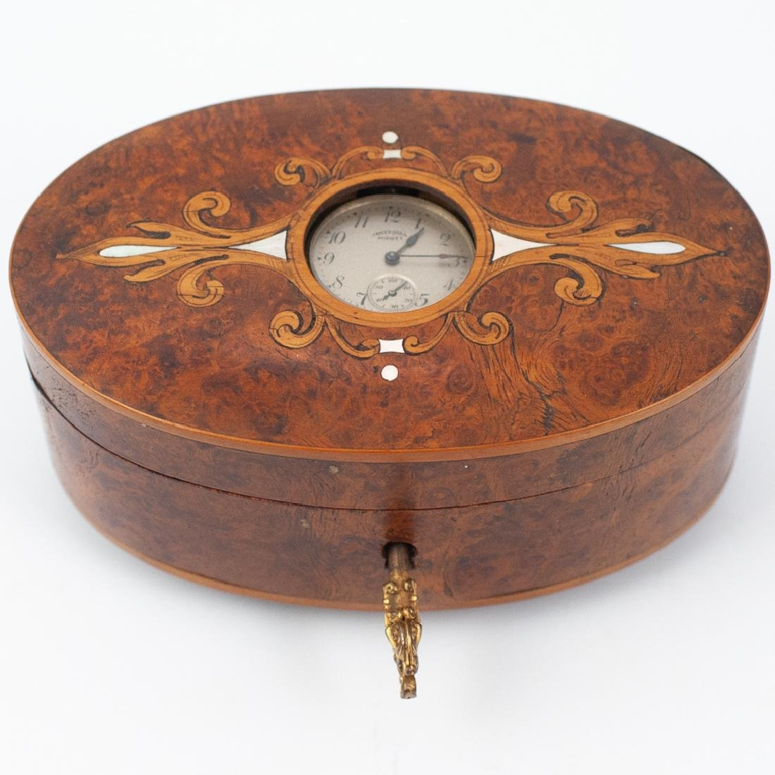 Vintage Burlwood and Mother of Pearl Inlaid Music Box
