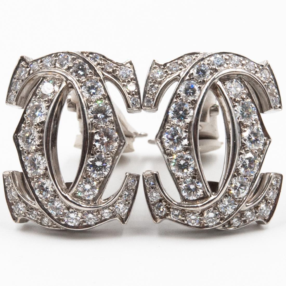 Pair of 18K Cartier C de Cartier Diamond Earrings