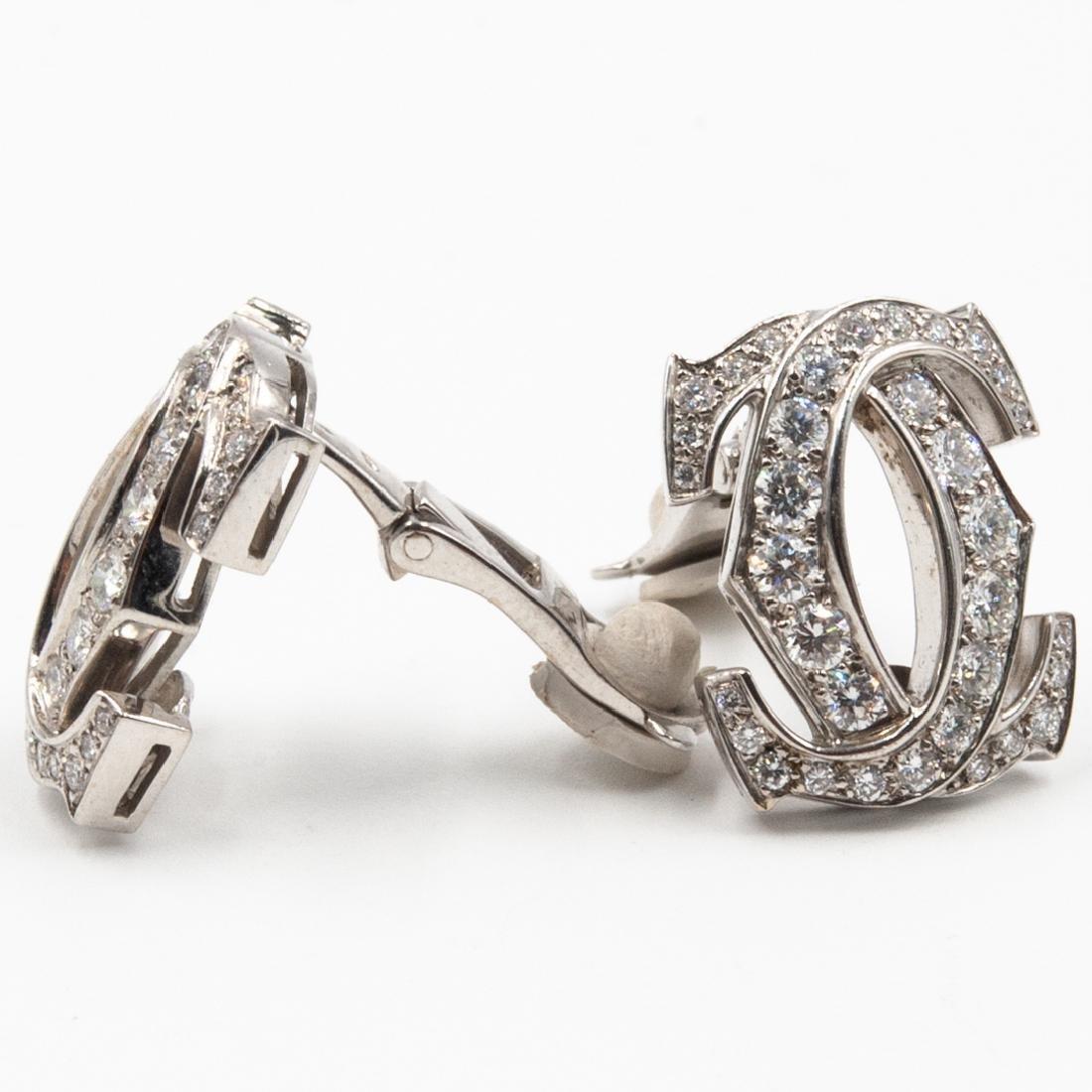 Pair of 18K Cartier C de Cartier Diamond Earrings - 2