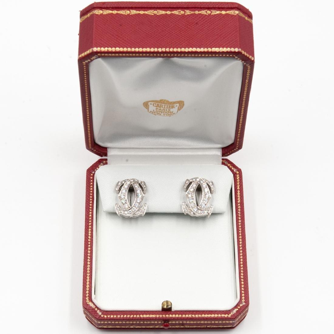 Pair of 18K Cartier C de Cartier Diamond Earrings - 5