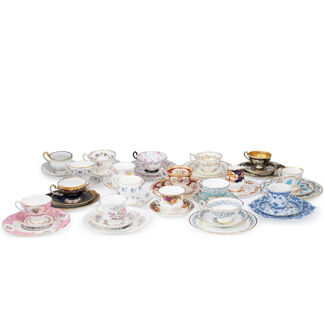 (46 Pc) Collection of Miscellaneous Tea Set Trios
