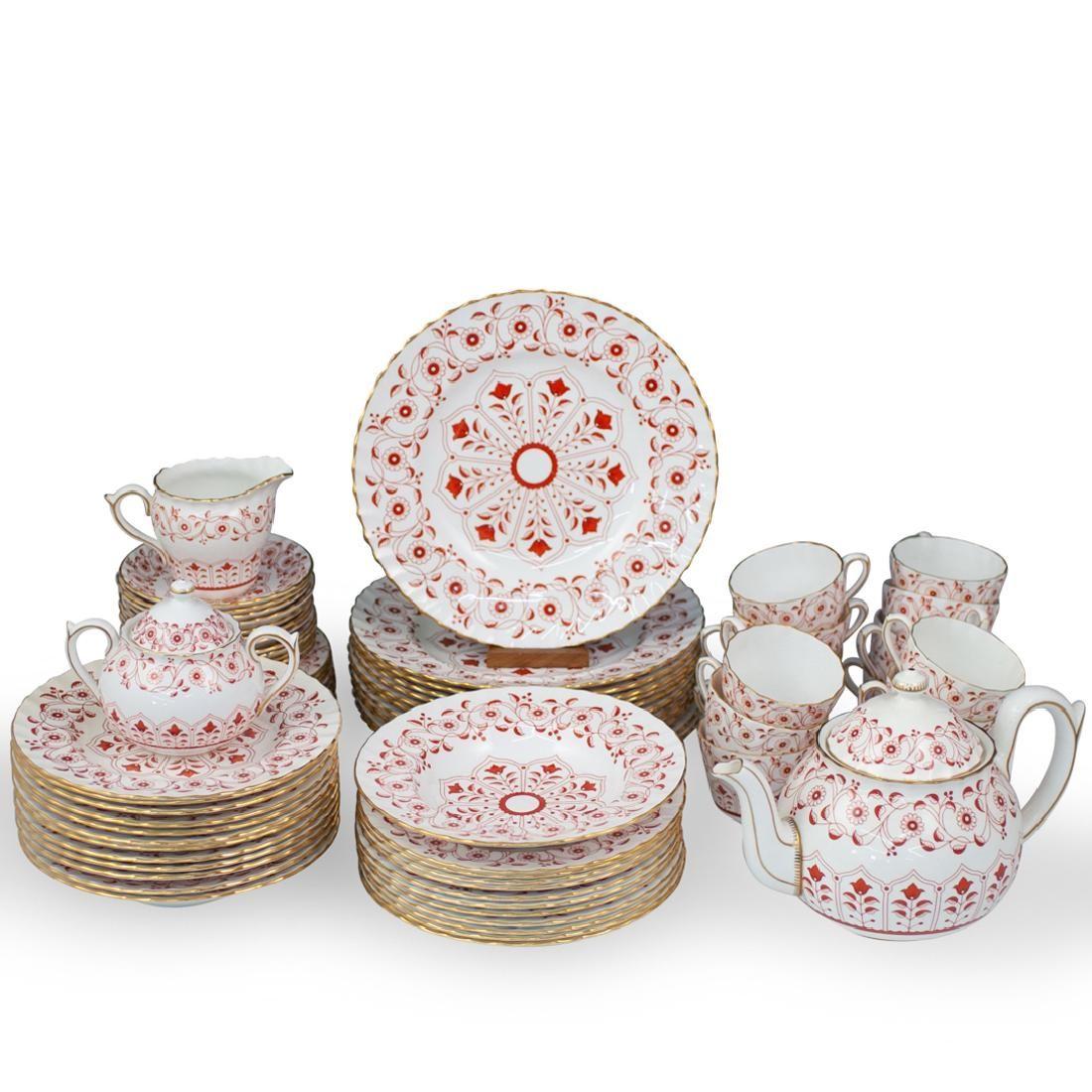 """(76 Piece) Royal Crown Derby """"Rougemont"""" Porcelain Tea"""