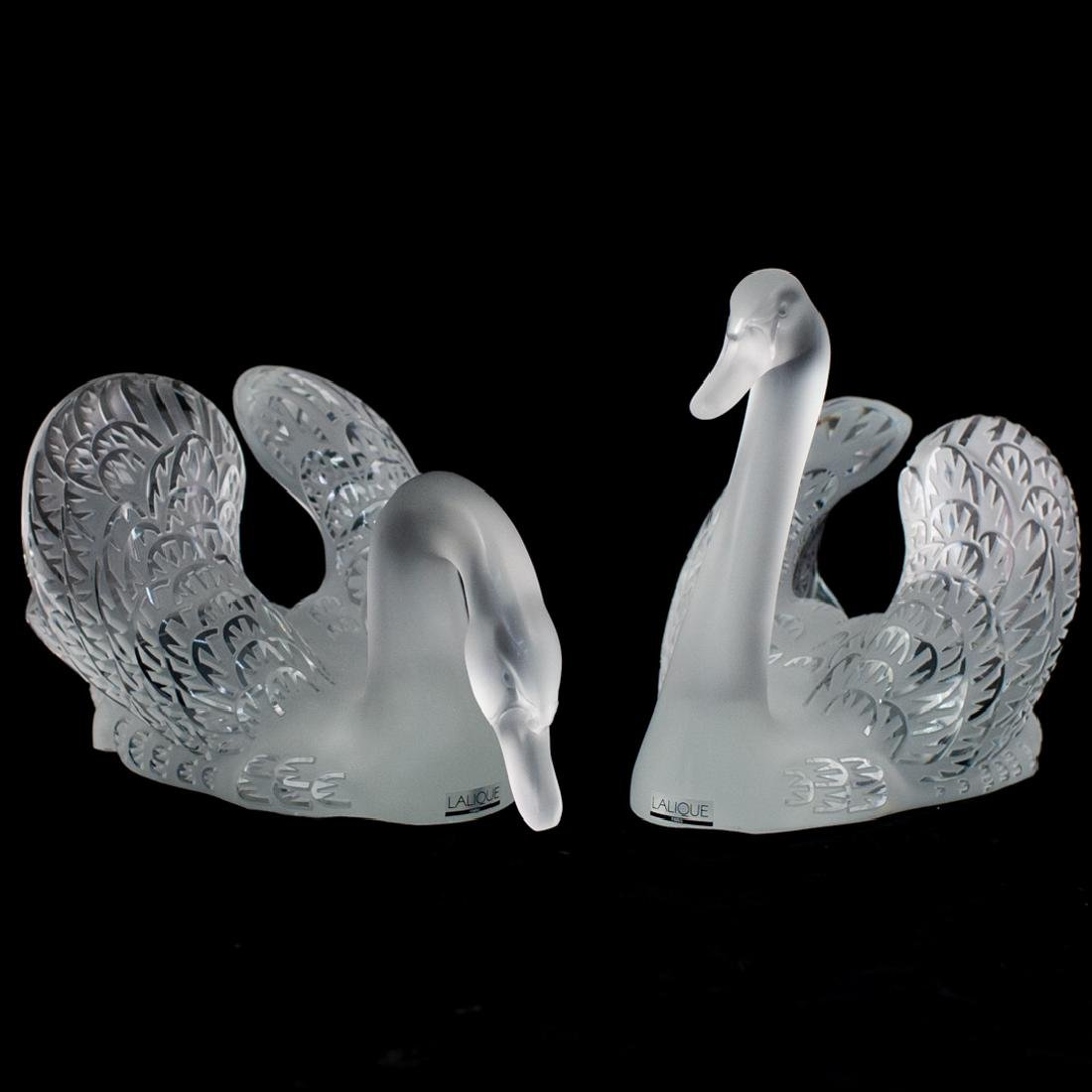 Pair of Lalique Crystal Swans