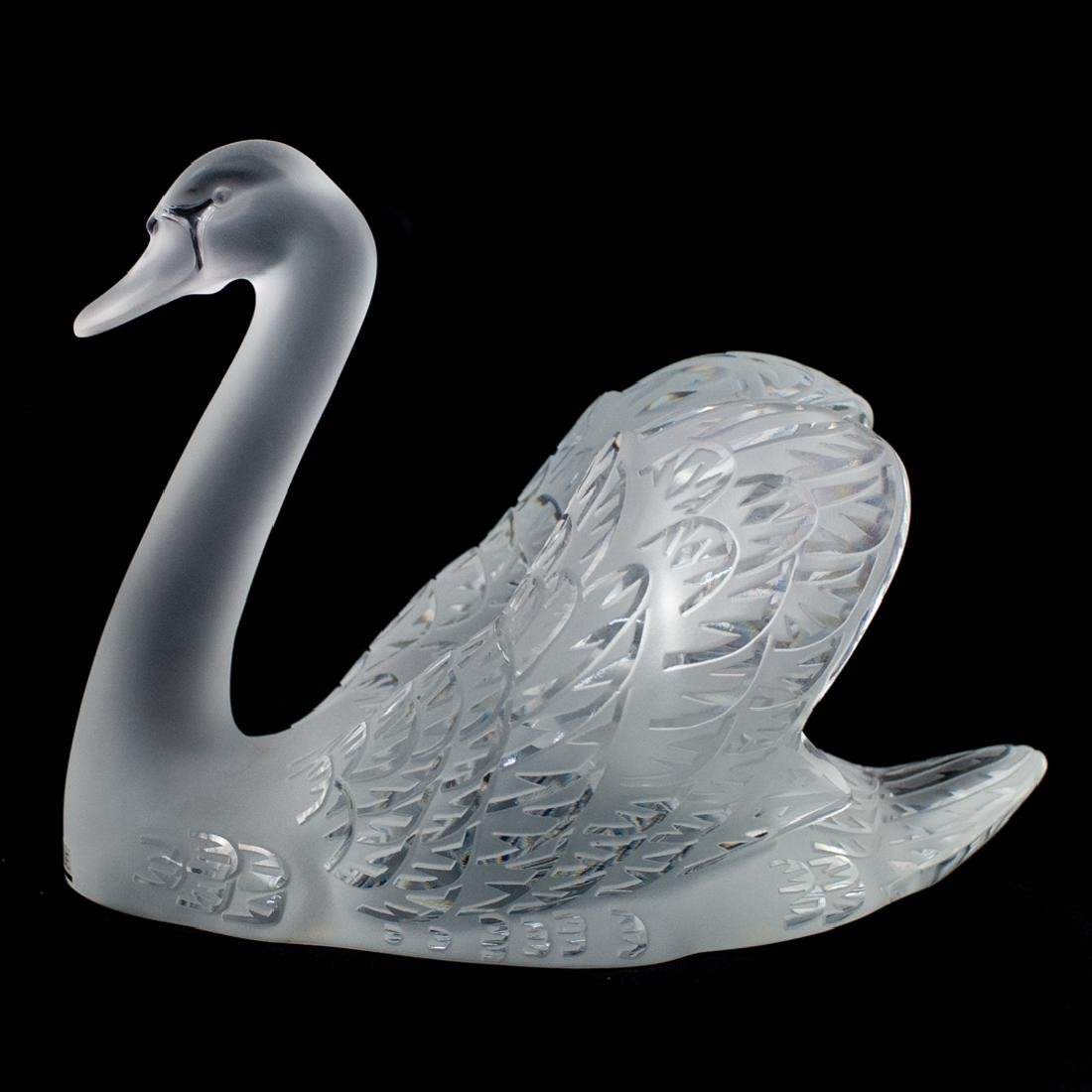 Pair of Lalique Crystal Swans - 3