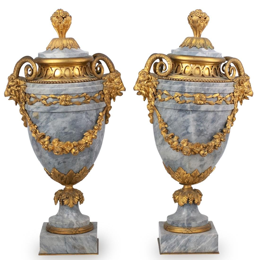 Pair of Louis XVI Style Grey Marble Urns