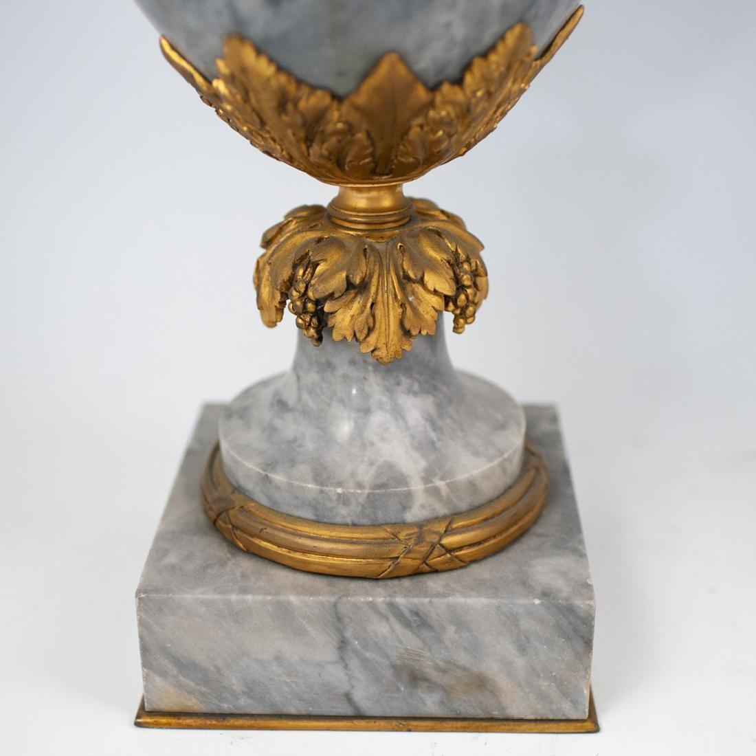 Pair of Louis XVI Style Grey Marble Urns - 3
