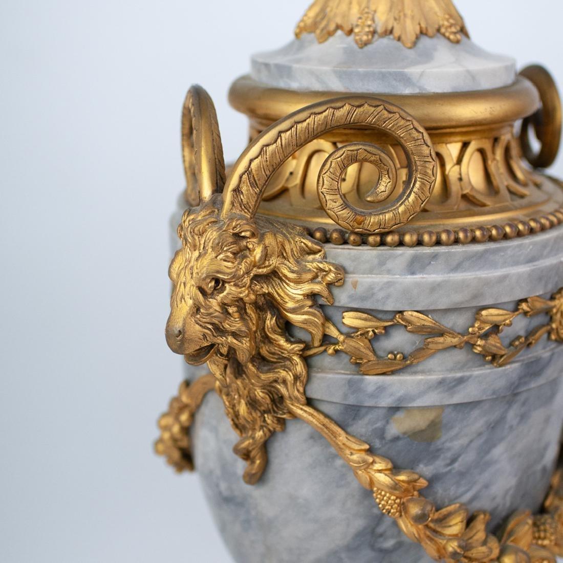 Pair of Louis XVI Style Grey Marble Urns - 4