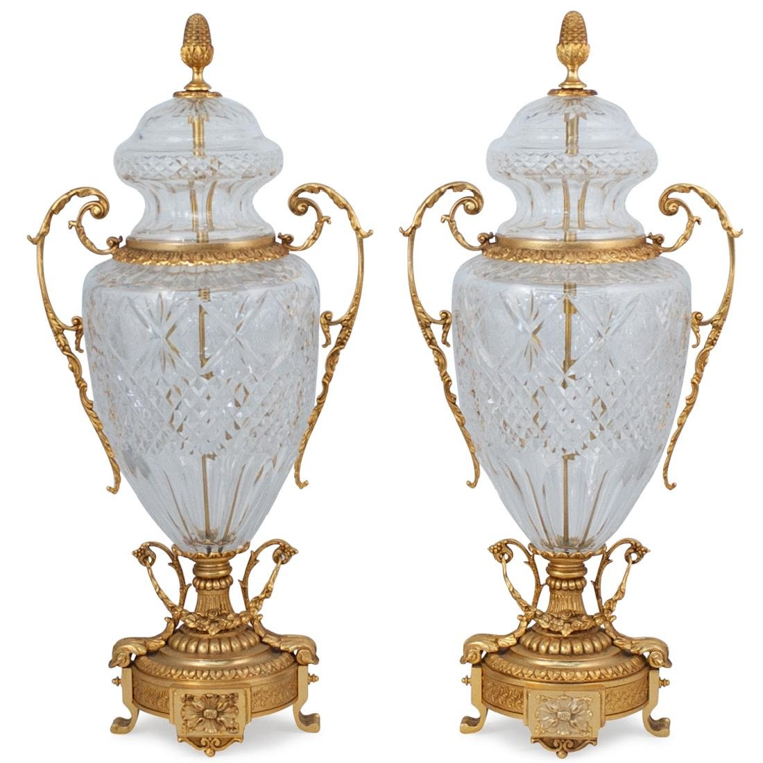 Pair of Cut Crystal and Gilt Bronze Urns