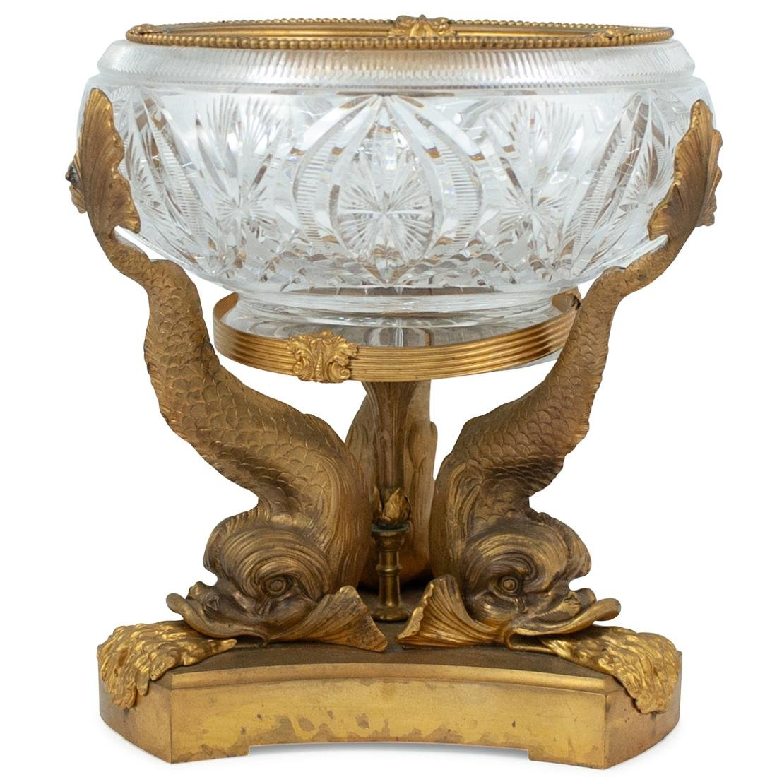 Cut Crystal and Gilt Bronze Dolphin Pedestal