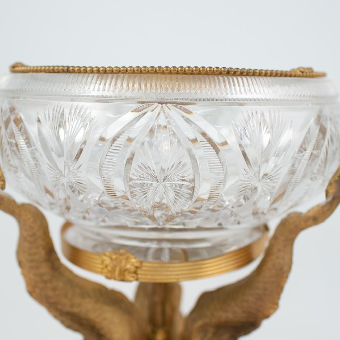Cut Crystal and Gilt Bronze Dolphin Pedestal - 2