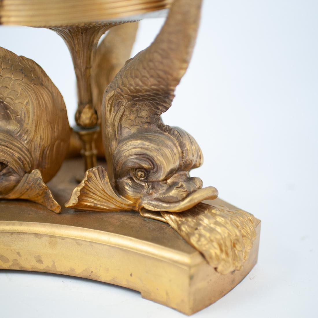 Cut Crystal and Gilt Bronze Dolphin Pedestal - 4