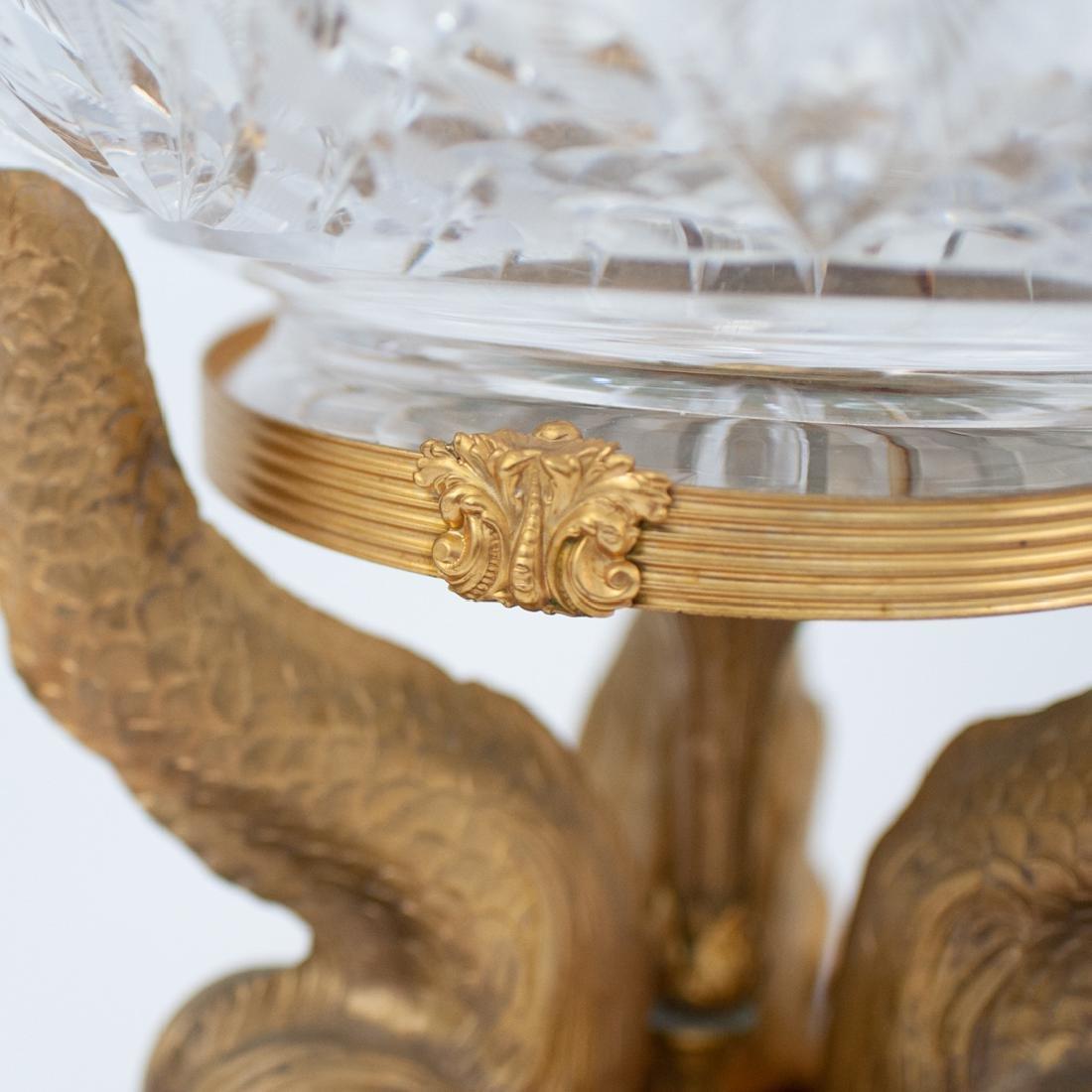 Cut Crystal and Gilt Bronze Dolphin Pedestal - 6