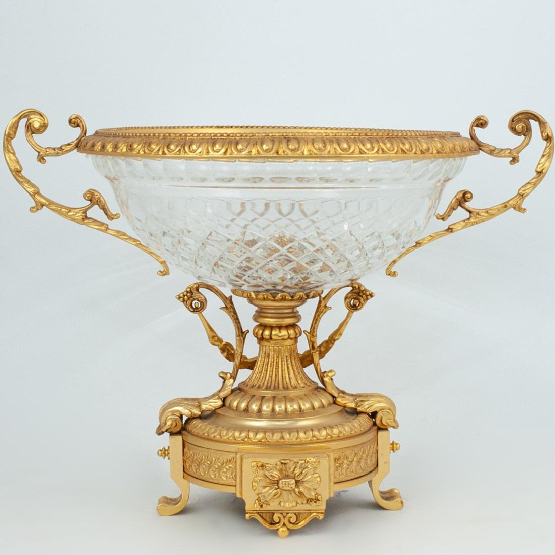 Diamond Cut Crystal and Gilt Bronze Centerpiece