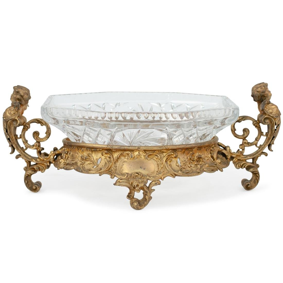 Gilt Bronze and Cut Crystal Centerpiece Bowl