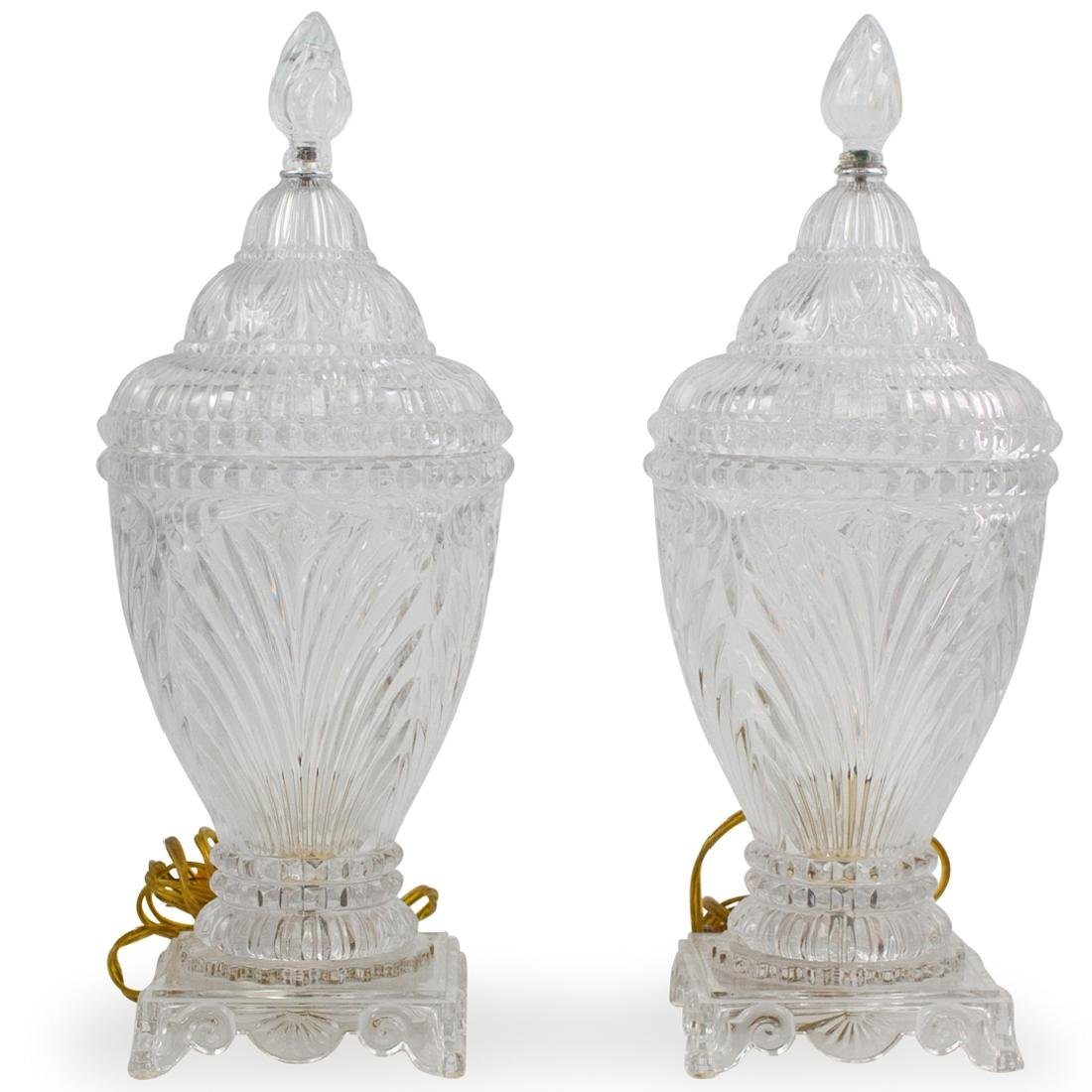 Pair of Cut Crystal Urn Lamps