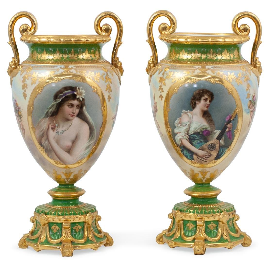 Pair Of Vienna Porcelain Vases