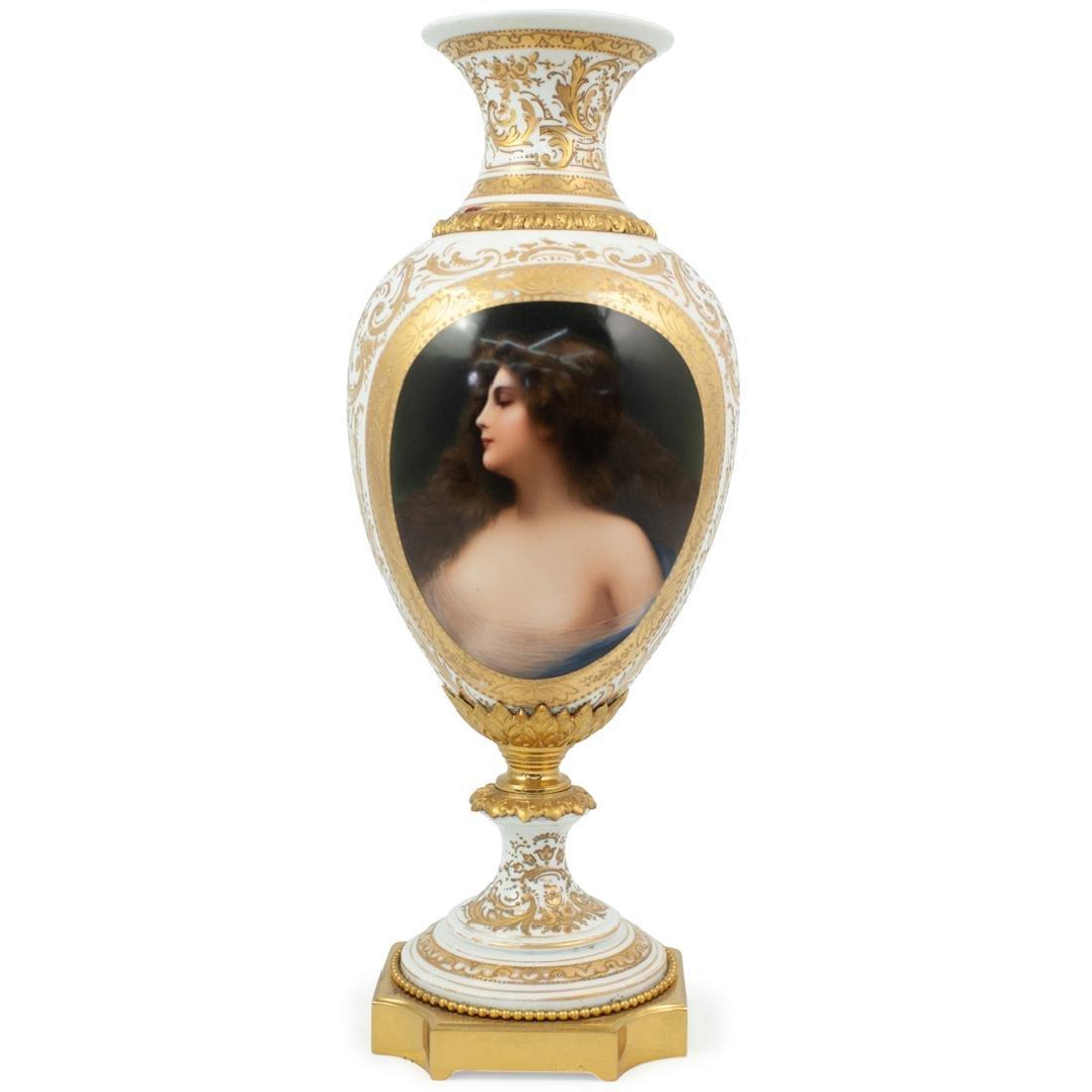 Sevres Porcelain and Gilt Portrait Vase
