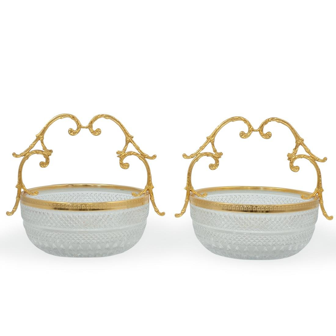 (2 Pc) Cut Crystal and Gilt Handle Bowls