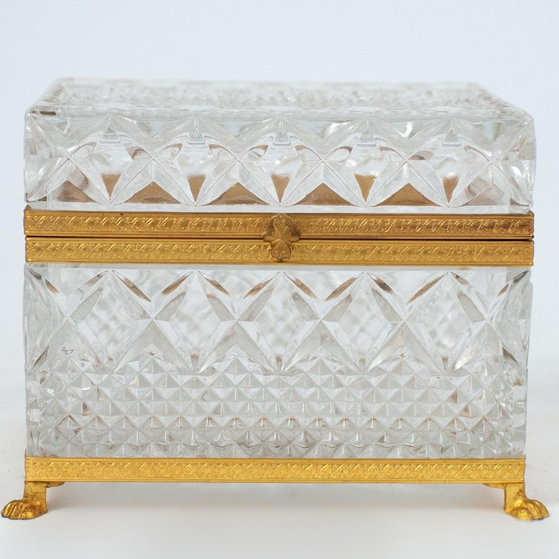 Antique Cut Crystal and Gilt Bronze Lidded Box