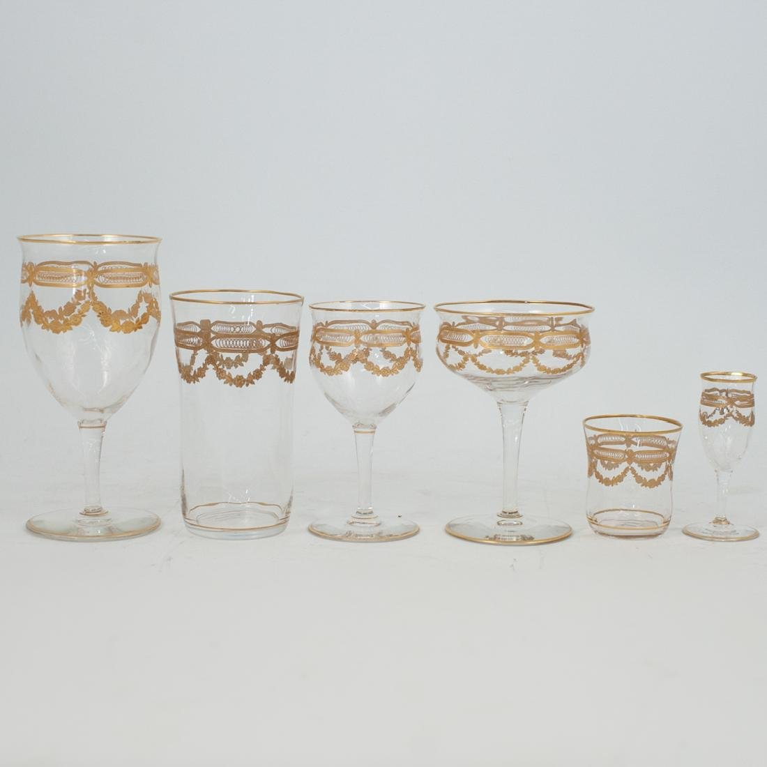 (89 Pc) Crystal and Gilt Decorated Glassware - 2
