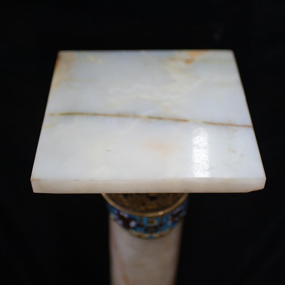 French Onyx and Champleve Enamel Pedestal - 2
