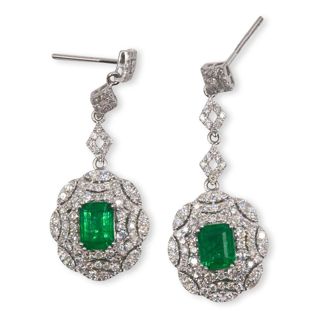 Pair Of Platinum, Emerald and Diamond Earrings