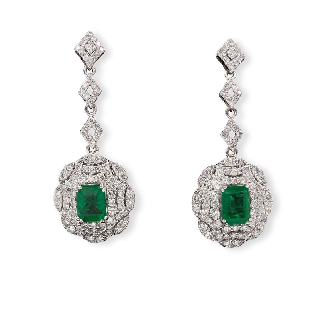 Pair Of Platinum, Emerald and Diamond Earrings - 2