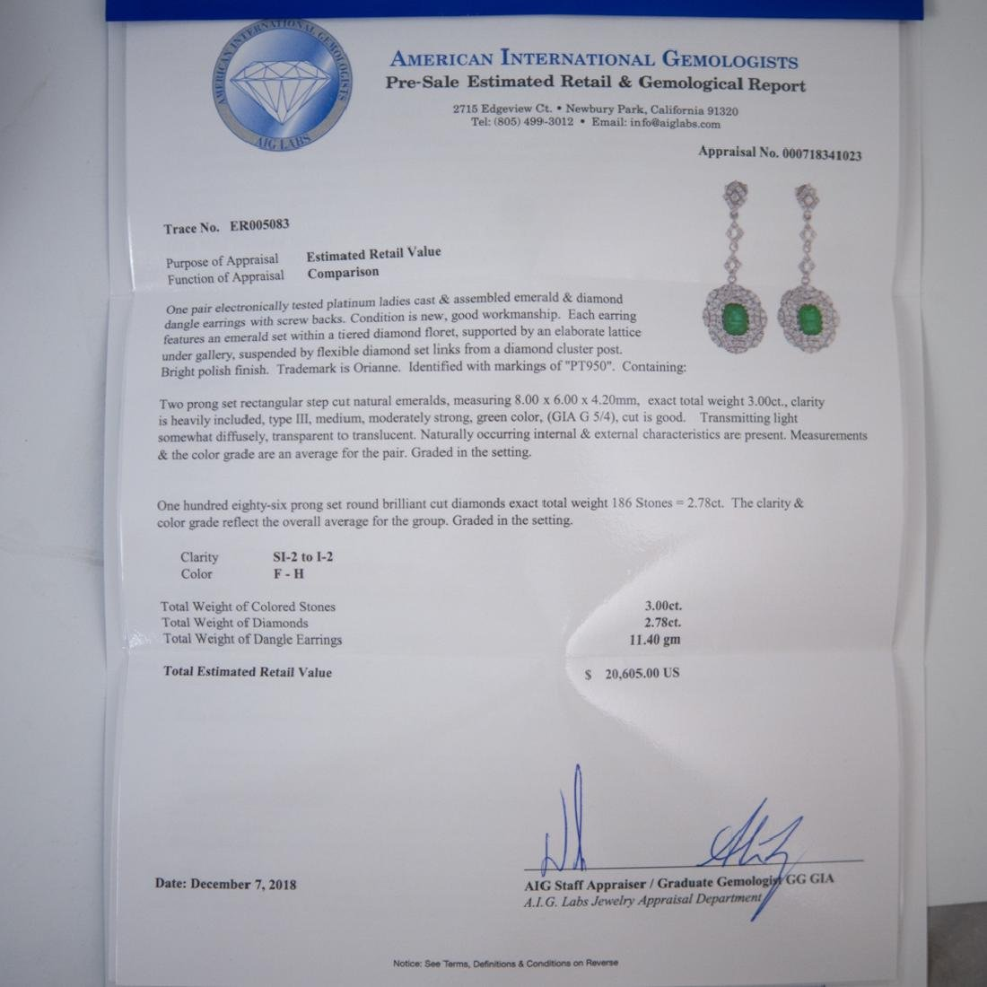 Pair Of Platinum, Emerald and Diamond Earrings - 6