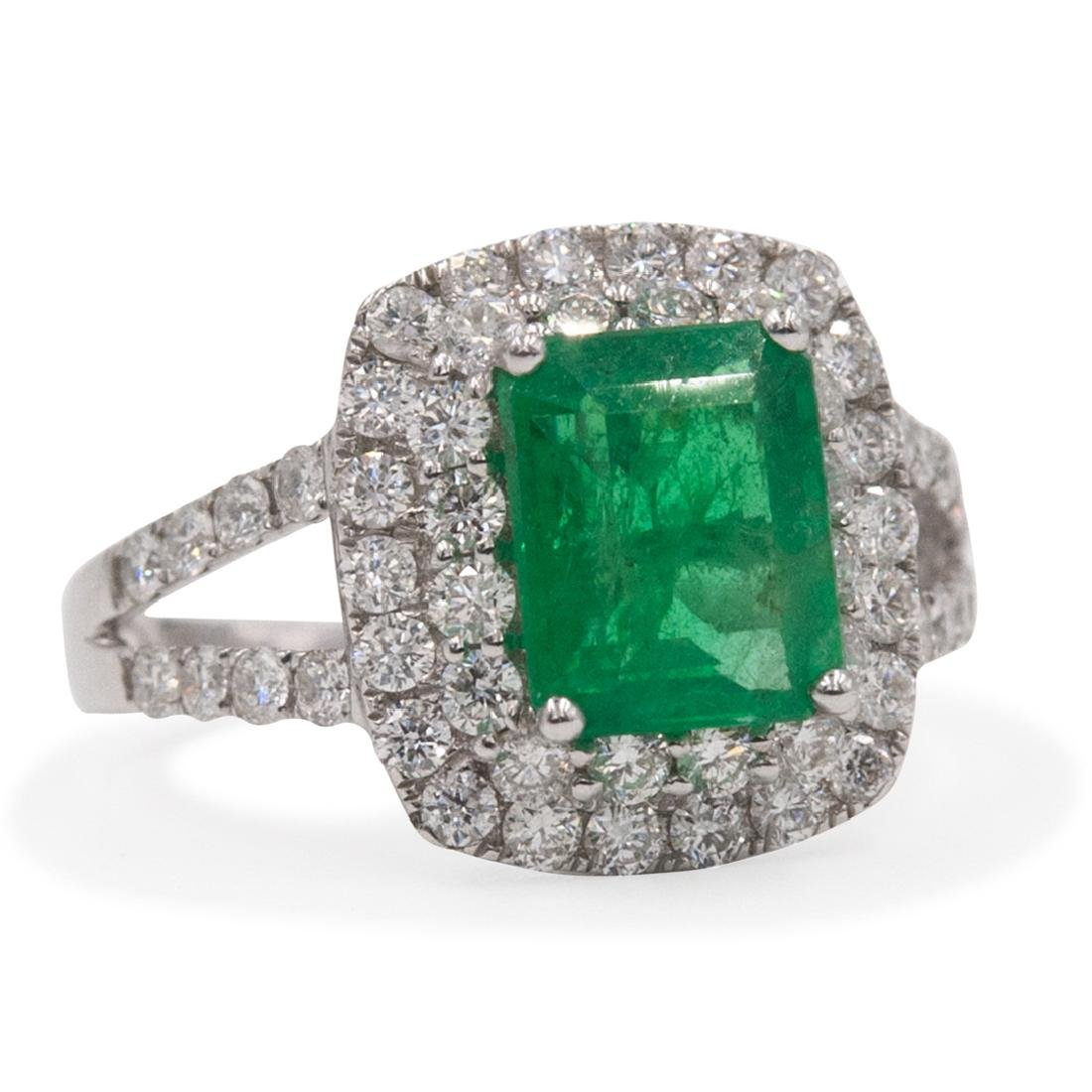18k Gold, Emerald and Diamond Ring