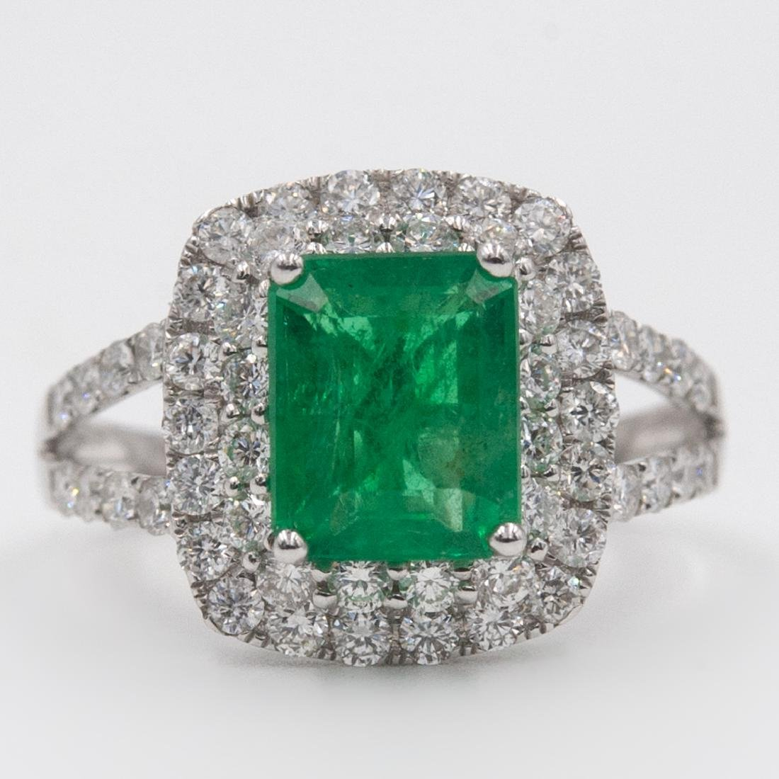 18k Gold, Emerald and Diamond Ring - 2