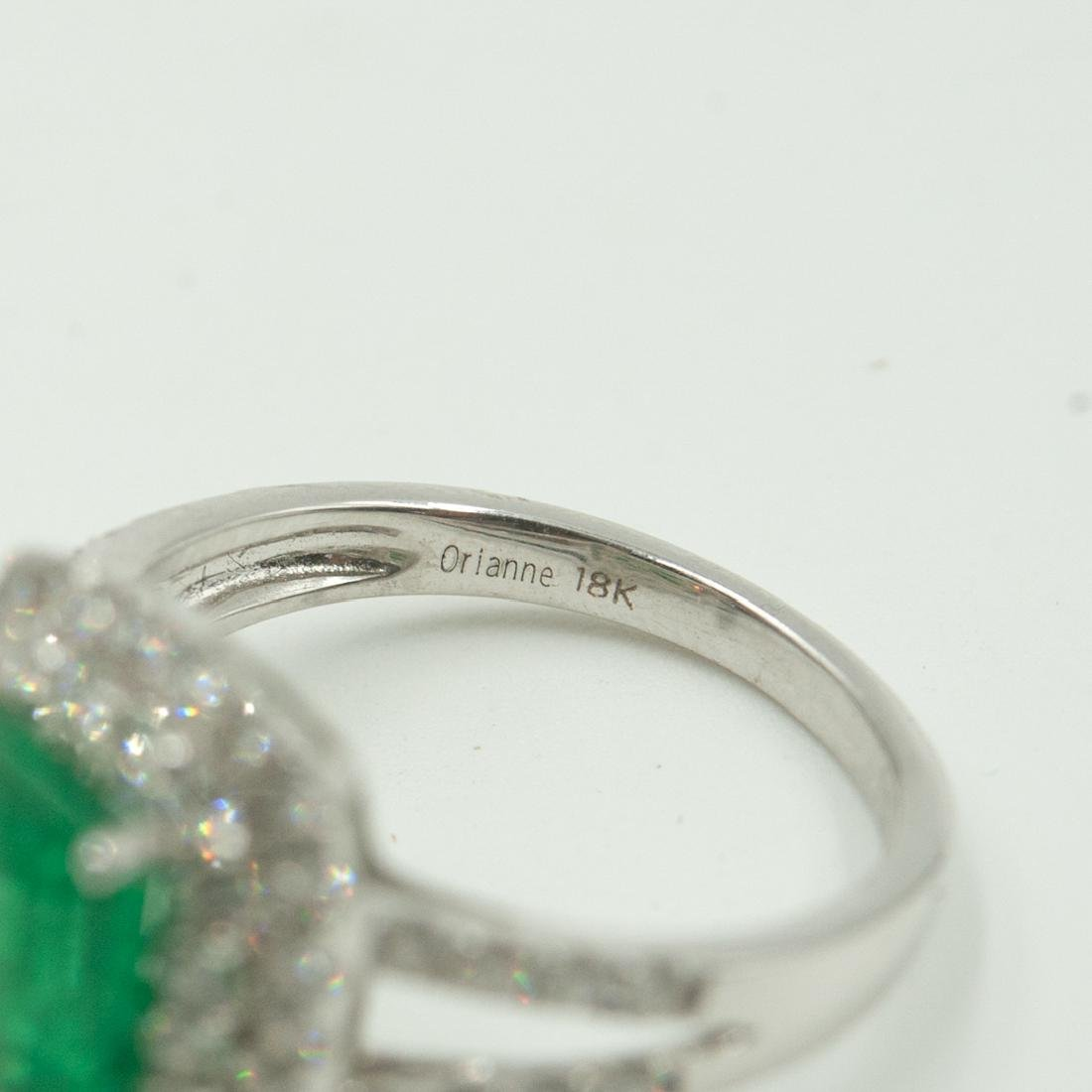 18k Gold, Emerald and Diamond Ring - 4