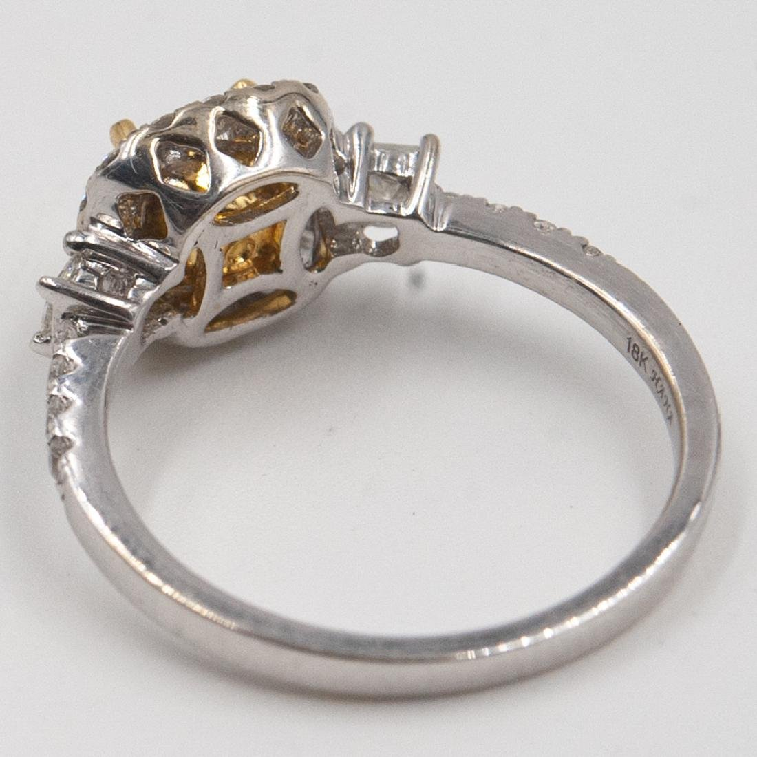 18k Gold and Yellow Diamond Ring - 4