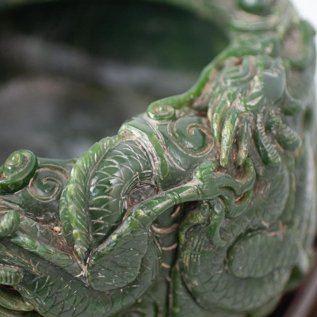Large Chinese Carved Spinach Jade Bowl - 10