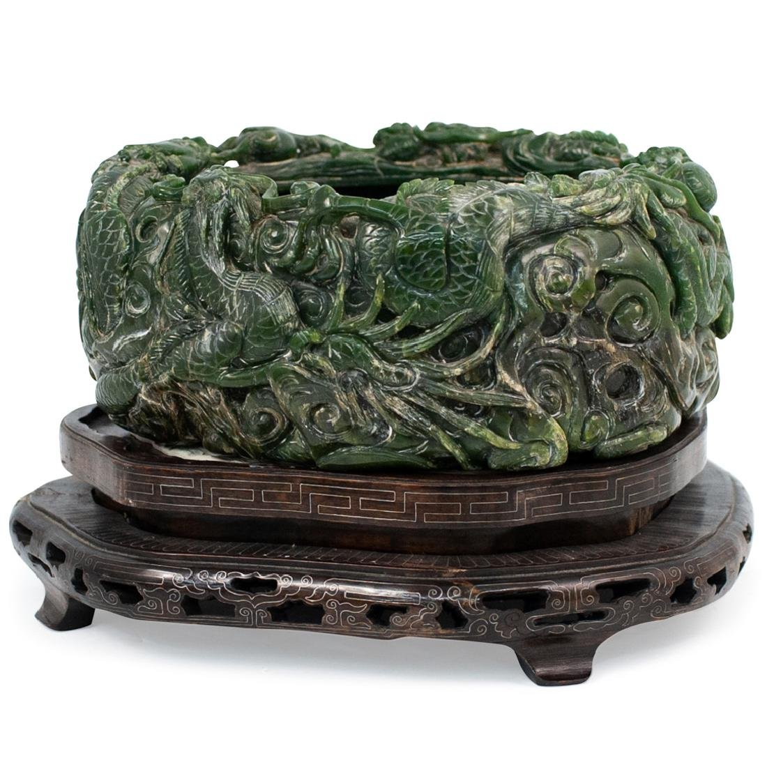 Large Chinese Carved Spinach Jade Bowl