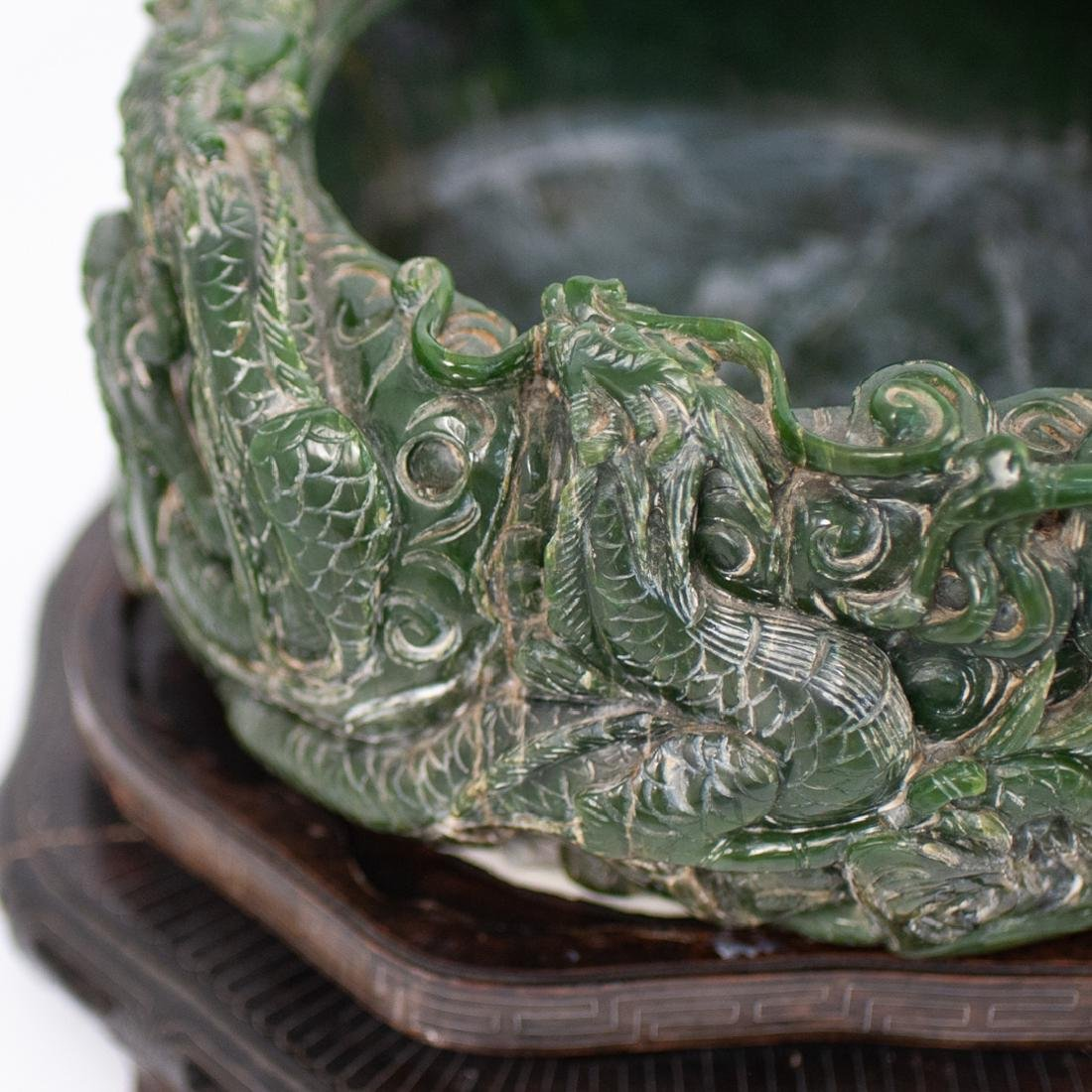 Large Chinese Carved Spinach Jade Bowl - 2