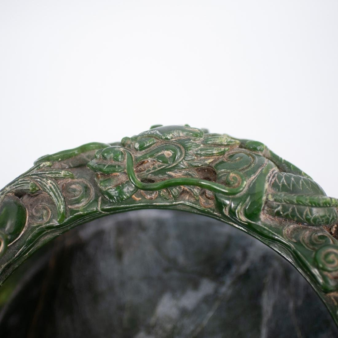 Large Chinese Carved Spinach Jade Bowl - 4