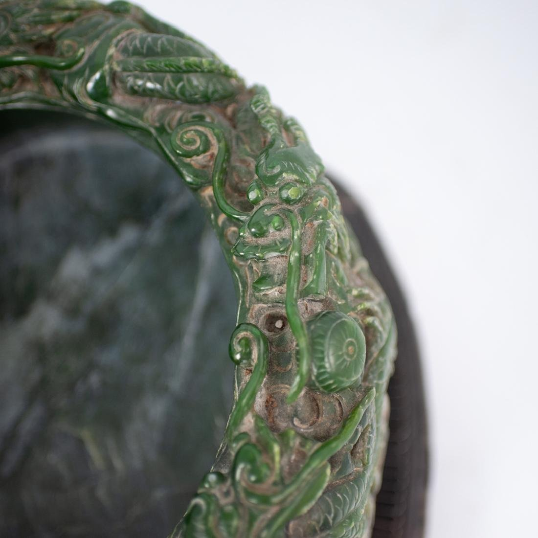 Large Chinese Carved Spinach Jade Bowl - 5