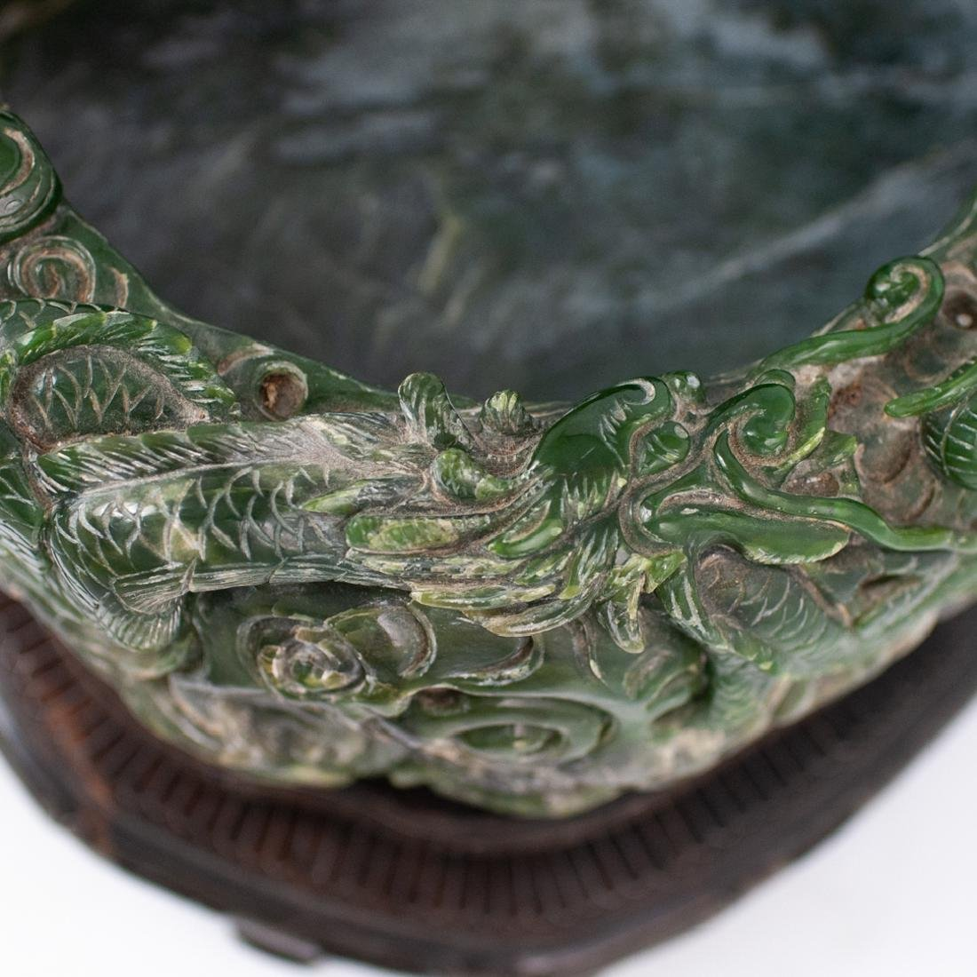 Large Chinese Carved Spinach Jade Bowl - 6