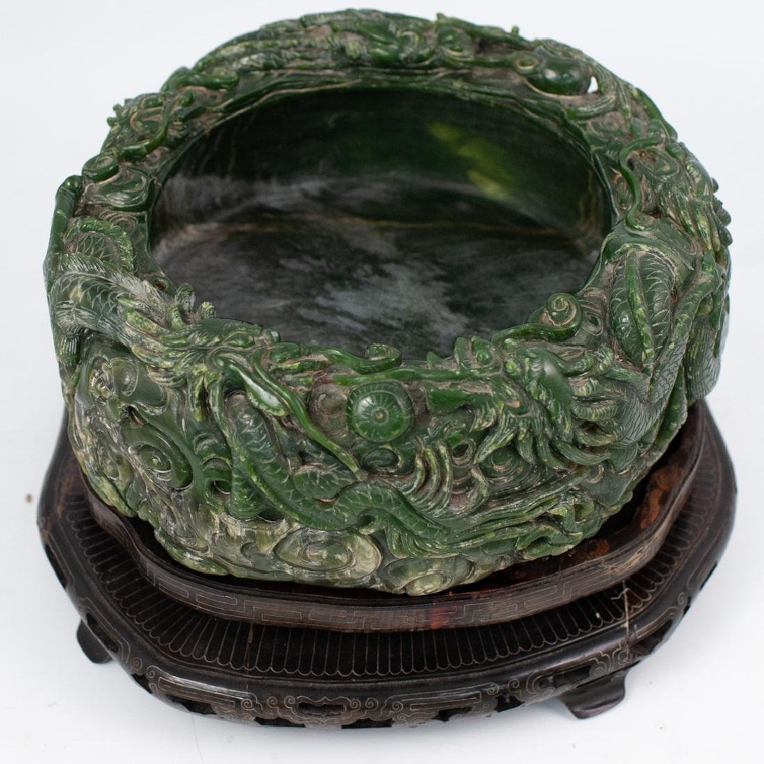 Large Chinese Carved Spinach Jade Bowl - 9