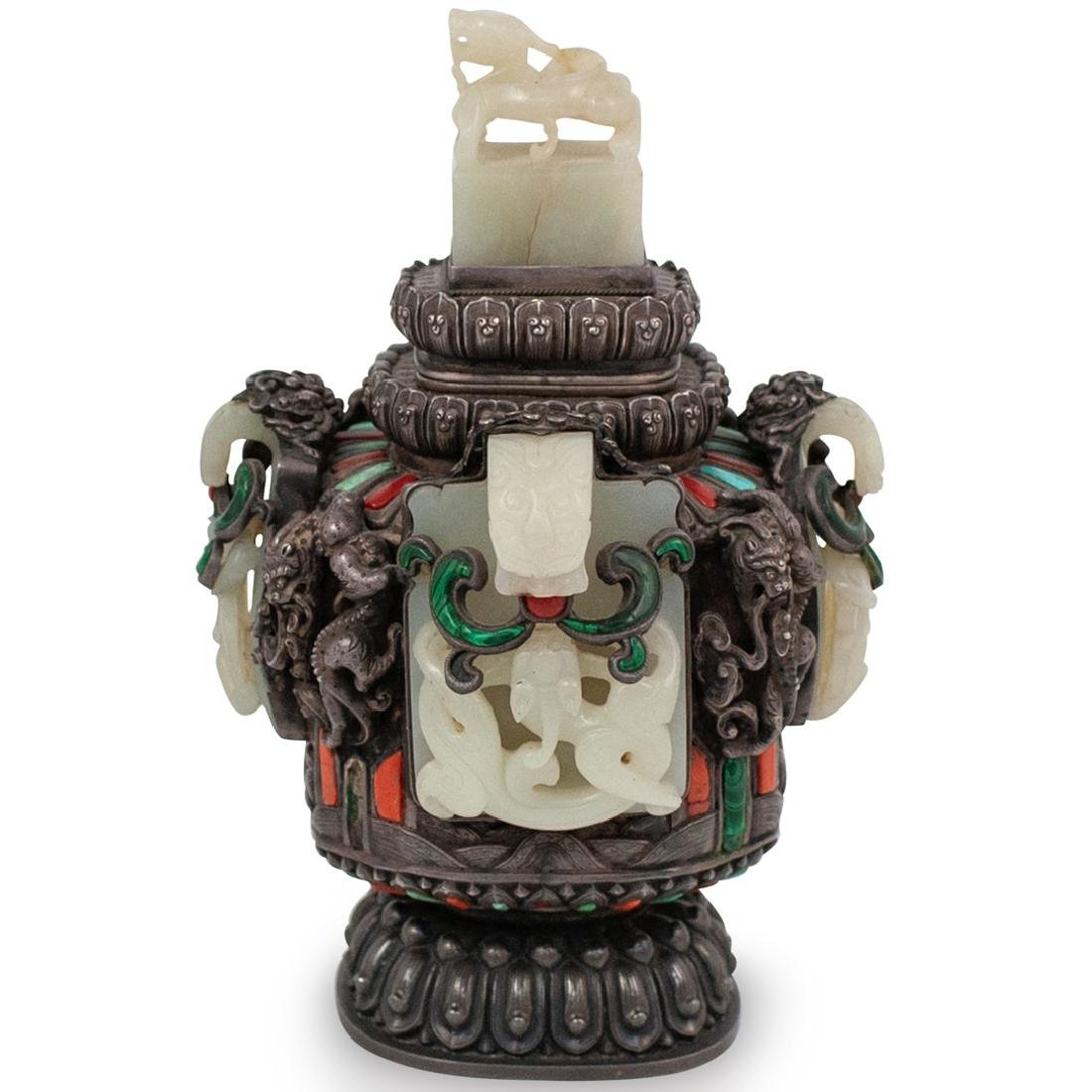 19th Cent. Chinese Silver and Jade Urn