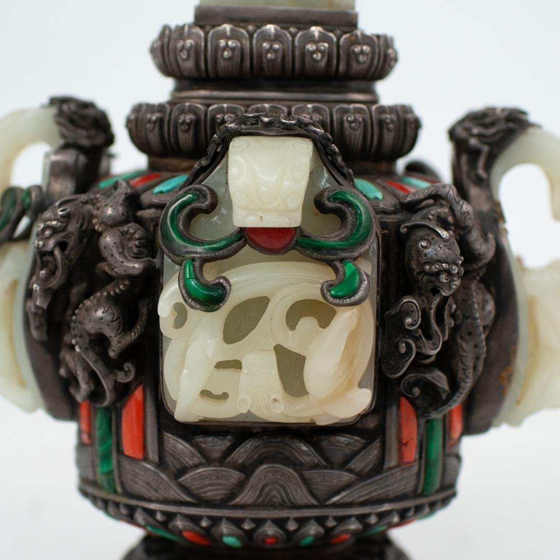 19th Cent. Chinese Silver and Jade Urn - 5