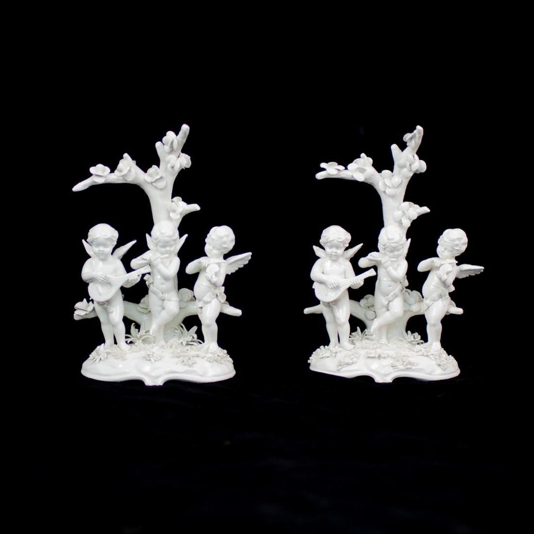 Pair of Italian White Porcelain Figural Group